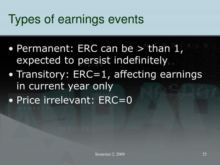 Types of earnings events