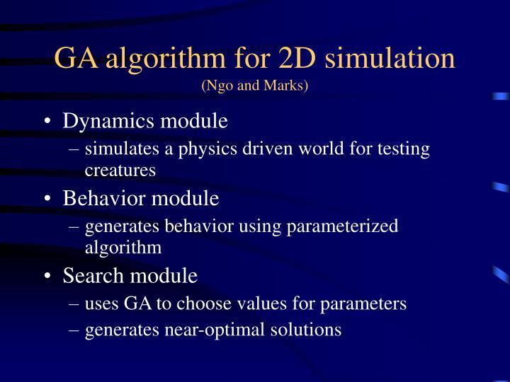 GA algorithm for 2D simulation