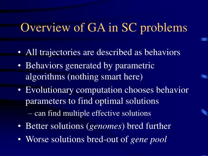 Overview of GA in SC problems