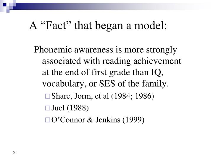 A fact that began a model