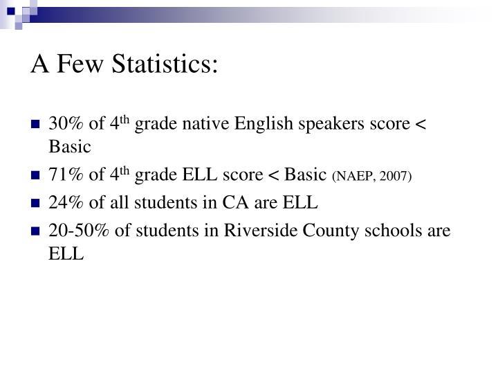 A Few Statistics: