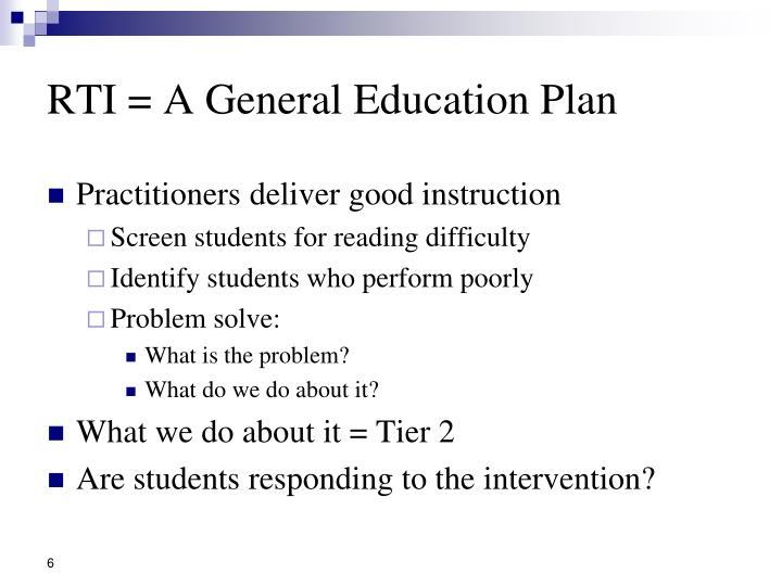 RTI = A General Education Plan