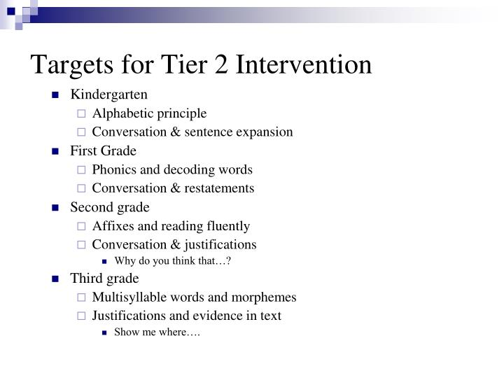 Targets for Tier 2 Intervention