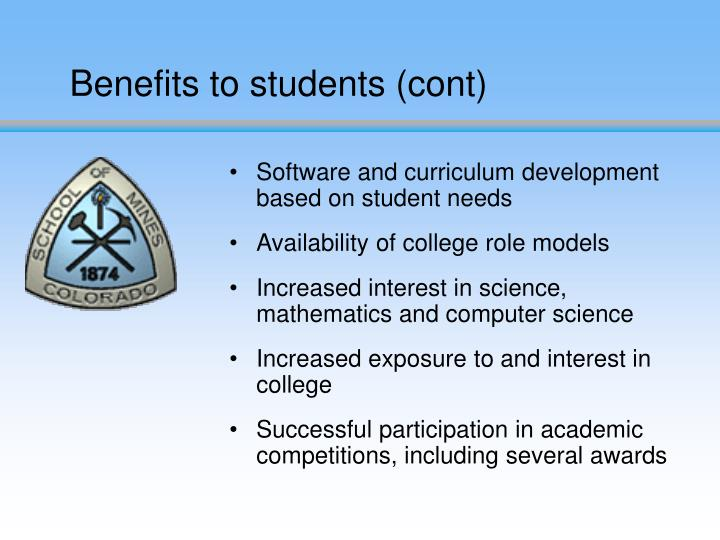 Benefits to students (cont)