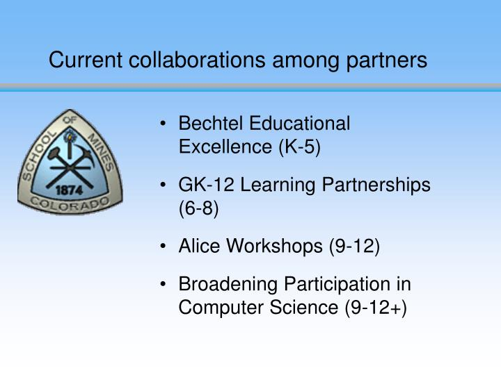 Current collaborations among partners