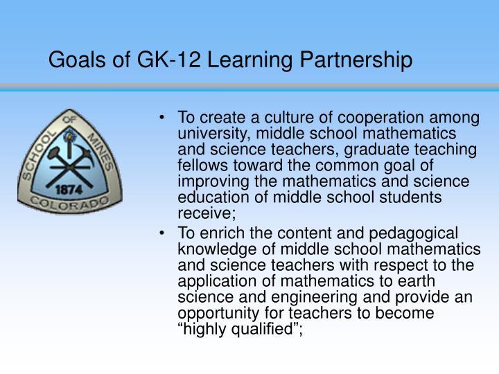 Goals of GK-12 Learning Partnership