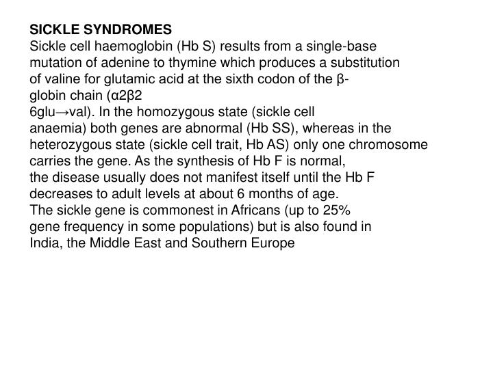 SICKLE SYNDROMES
