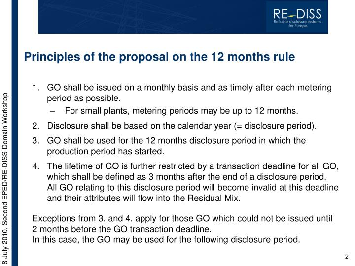 Principles of the proposal on the 12 months rule