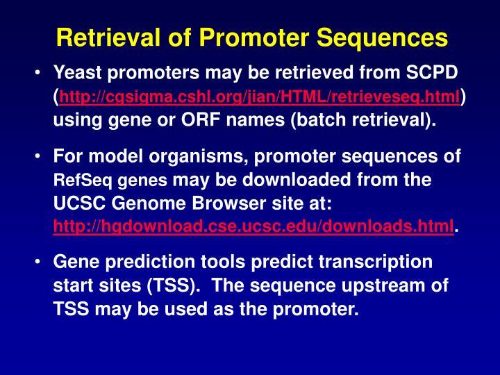Retrieval of Promoter Sequences