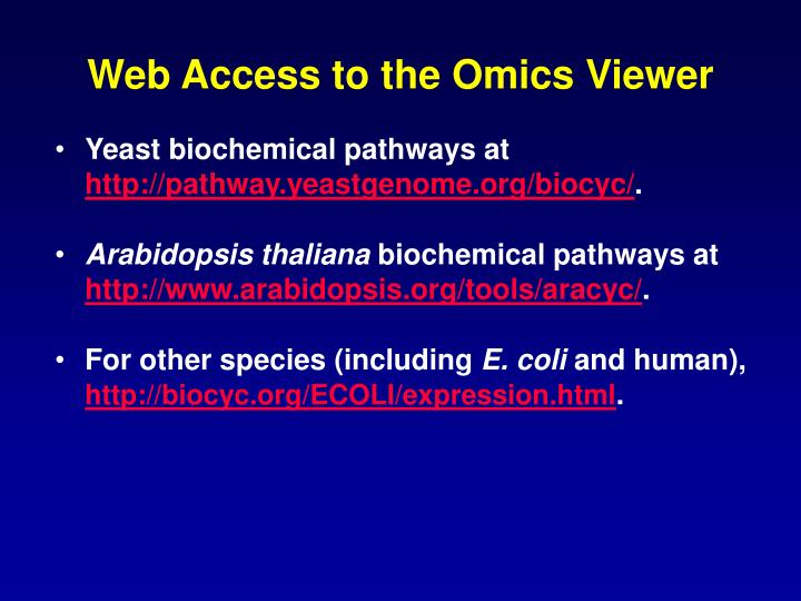 Web Access to the Omics Viewer