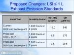 proposed changes lsi 1 l exhaust emission standards