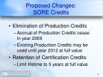 proposed changes sore credits
