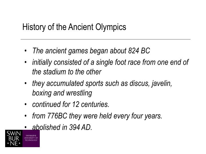 History of the Ancient Olympics