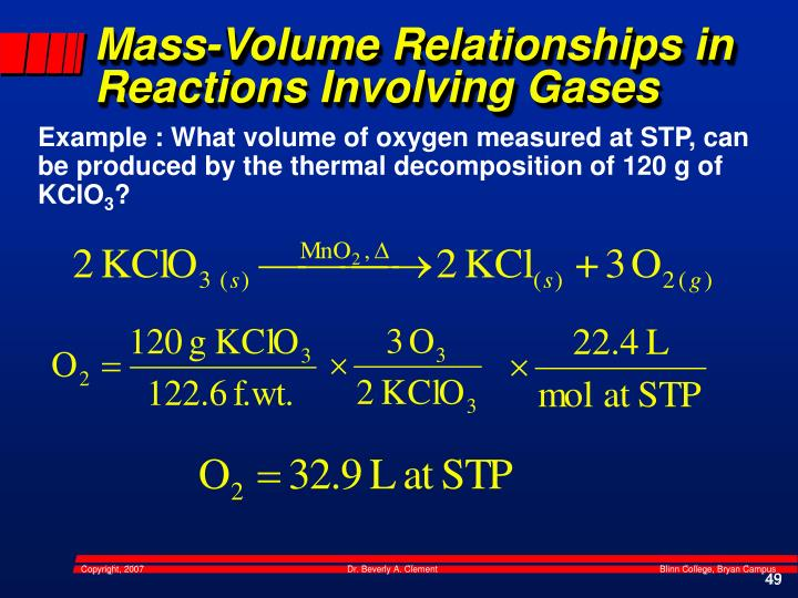 Mass-Volume Relationships in Reactions Involving Gases