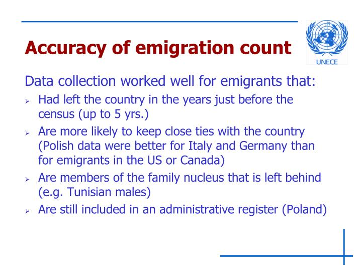 Accuracy of emigration count