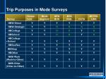 trip purposes in mode surveys