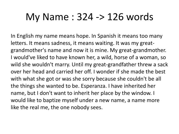 My Name : 324 -> 126 words