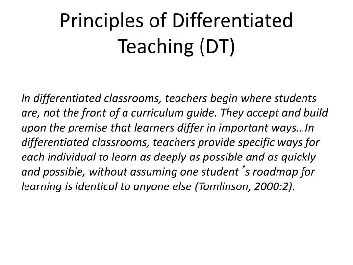 Principles of Differentiated Teaching (DT)