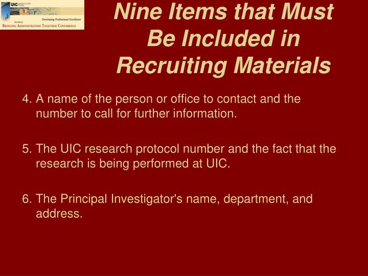 Nine Items that Must Be Included in Recruiting Materials