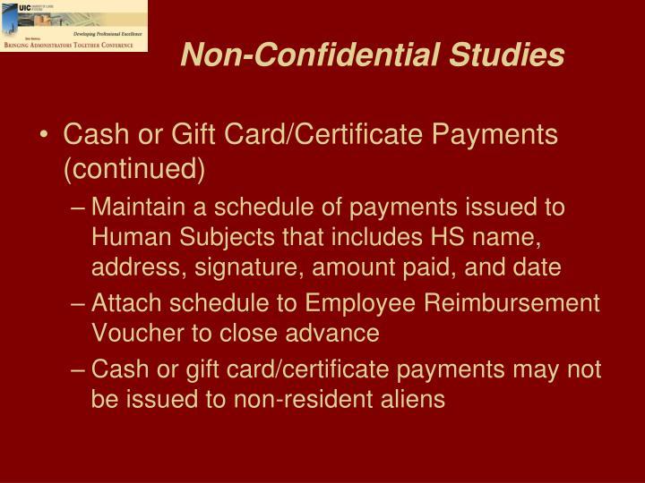 Non-Confidential Studies
