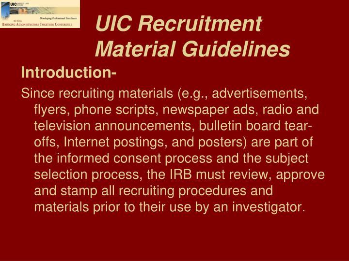 UIC Recruitment Material Guidelines