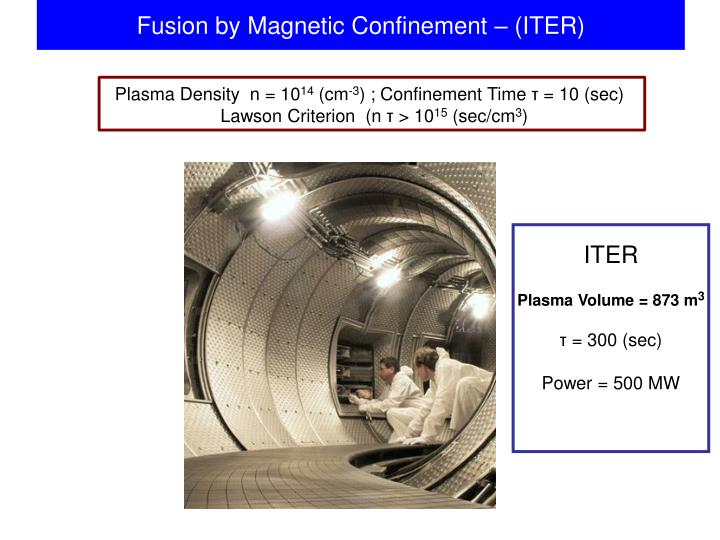Fusion by Magnetic Confinement – (ITER)