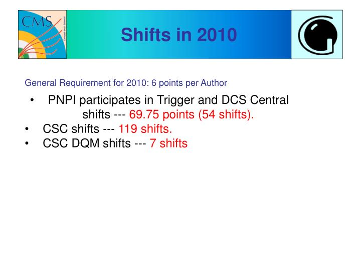 Shifts in 2010