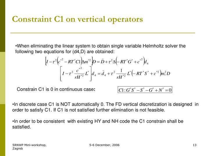 Constraint C1 on vertical operators