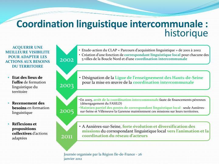 Coordination linguistique intercommunale historique