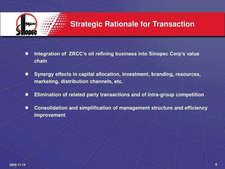 Strategic Rationale for Transaction