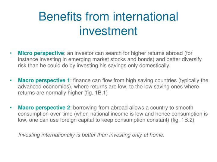 Benefits from international