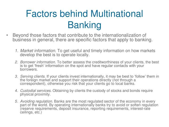 Factors behind Multinational Banking