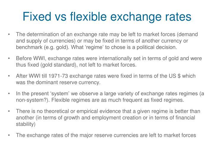 Fixed vs flexible exchange rates