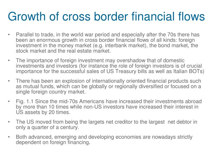 Growth of cross border financial flows