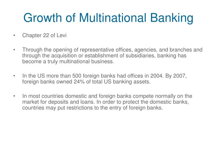 Growth of Multinational Banking