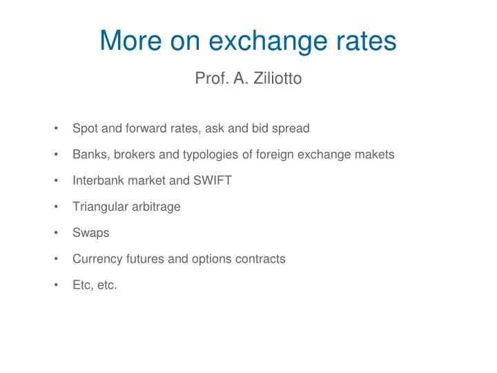 More on exchange rates