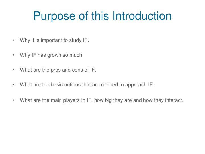 Purpose of this Introduction