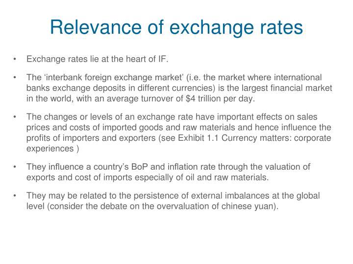 Relevance of exchange rates