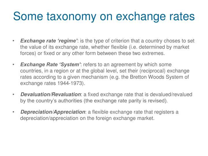 Some taxonomy on exchange rates