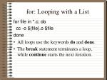 for looping with a list1