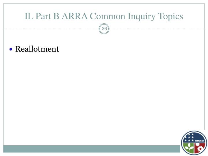 IL Part B ARRA Common Inquiry Topics