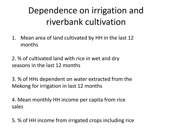 Dependence on irrigation and riverbank cultivation