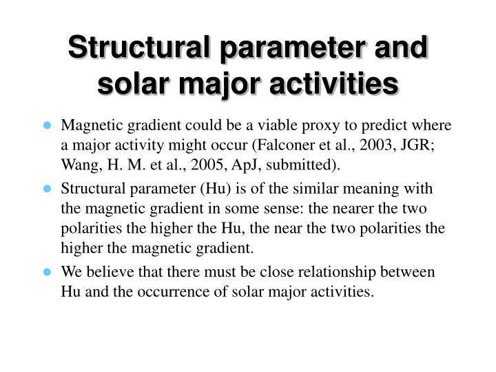 Structural parameter and solar major activities