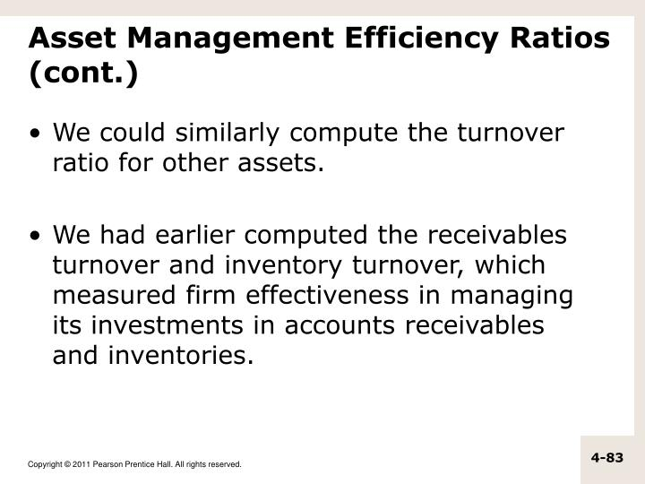 cango efficiency ratio receivables turnover Read this essay on cango financial analysis report  efficiency ratio:  receivables turnover net sales/acct receivable 50,000,000/ 32,120,000 156 .
