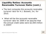 liquidity ratios accounts receivable turnover ratio cont