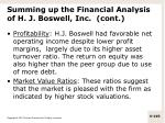 summing up the financial analysis of h j boswell inc cont