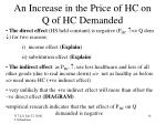 an increase in the price of hc on q of hc demanded