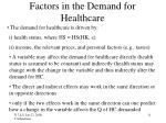 factors in the demand for healthcare