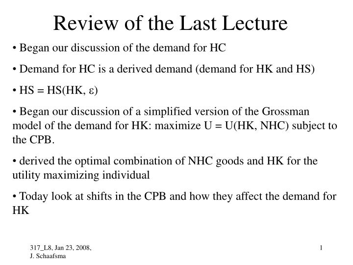 review of the last lecture n.