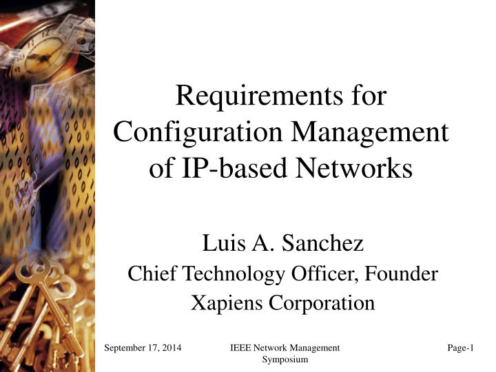 requirements for configuration management of ip based networks